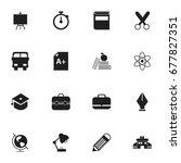 set of 16 editable knowledge... | Shutterstock .eps vector #677827351