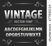 vector vintage label font.... | Shutterstock .eps vector #677830114
