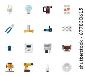 set of 16 editable electric... | Shutterstock .eps vector #677830615