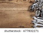 tools kit on wooden table | Shutterstock . vector #677832271