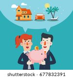 business man and business woman ... | Shutterstock .eps vector #677832391