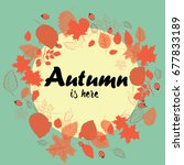 autumn wreath made from the red ... | Shutterstock .eps vector #677833189