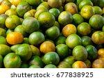 top view fresh orange... | Shutterstock . vector #677838925