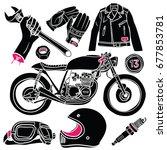cafe racer doodles | Shutterstock .eps vector #677853781