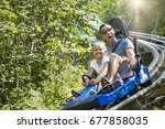 man and girl enjoying a summer... | Shutterstock . vector #677858035