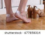 woman's heel with blister... | Shutterstock . vector #677858314