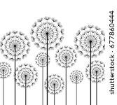 black stylized dandelions... | Shutterstock . vector #677860444
