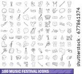 100 music festival icons set in ... | Shutterstock . vector #677861374