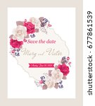 wedding invitation cards with... | Shutterstock .eps vector #677861539