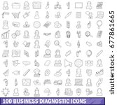 100 business diagnostic icons... | Shutterstock . vector #677861665