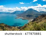 viewpoint at lake atitlan with... | Shutterstock . vector #677870881
