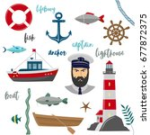 vector maritime icons on white...   Shutterstock .eps vector #677872375