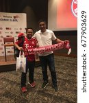 Small photo of KUALA LUMPUR, MALAYSIA - JULY 14, 2017: Giovane Élber greets Malaysian fans (MY-FCBAYERN) as he arrives at the event 'Meet, Play and Greet with Bayern Munich Football Legend Giovane Elber' in Malaysia