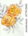Stock photo watercolor yellow roses 677915605