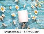 White Coffee Mug With Chamomil...