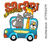 animals vacation with mini bus  ... | Shutterstock .eps vector #677931079