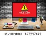 virus alert warning digital...   Shutterstock . vector #677947699
