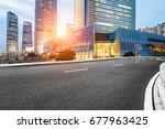 asphalt road in lujiazui... | Shutterstock . vector #677963425