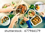 family dinner. top view people... | Shutterstock . vector #677966179