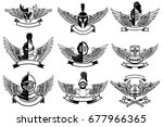 set of emblems with helmets and ... | Shutterstock .eps vector #677966365