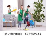 Cleaning Service Team Working...