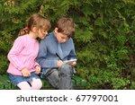 little boy and girl sitting on... | Shutterstock . vector #67797001