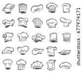 monochrome set of chef and cook ... | Shutterstock .eps vector #677974171