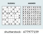 vector sudoku with answer 74.... | Shutterstock .eps vector #677977159