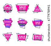 set of trendy flat geometric... | Shutterstock .eps vector #677978941