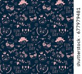 vector fashion cat seamless... | Shutterstock .eps vector #677979481