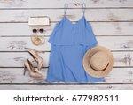 elegant summer outfit. modern...   Shutterstock . vector #677982511