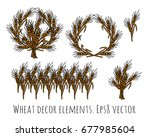wheat rye objects isolate decor ... | Shutterstock .eps vector #677985604