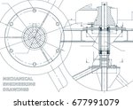 mechanical engineering drawing. ... | Shutterstock .eps vector #677991079
