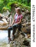 beautiful blonde woman tourist... | Shutterstock . vector #677998129