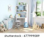 3d rendering. childrens room... | Shutterstock . vector #677999089
