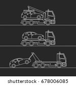 tow truck picking up a vehicle  ... | Shutterstock .eps vector #678006085