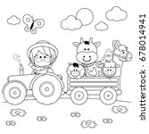 farmer boy driving a tractor... | Shutterstock .eps vector #678014941