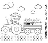 farmer at the farm driving a... | Shutterstock .eps vector #678014965