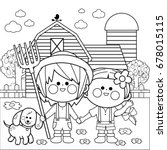 children at the farm. black and ...   Shutterstock .eps vector #678015115
