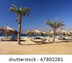 egypt   beach with palms and... | Shutterstock . vector #67802281