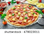 fresh baked pizza hawaii with... | Shutterstock . vector #678023011