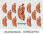 sausage emotions characters... | Shutterstock .eps vector #678024754