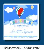 baby shower card with balloons...   Shutterstock .eps vector #678041989
