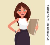 beautiful business woman with a ... | Shutterstock .eps vector #678050851