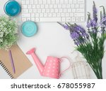 flat lay  top view office table ... | Shutterstock . vector #678055987