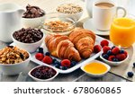 breakfast served with coffee ... | Shutterstock . vector #678060865
