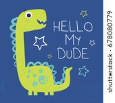 dinosaur vector drawn with typo ... | Shutterstock .eps vector #678080779