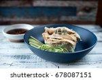 hainan steam chicken and rice... | Shutterstock . vector #678087151