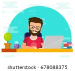 man working on computer. work... | Shutterstock .eps vector #678088375