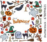 background of halloween icons... | Shutterstock . vector #678094621